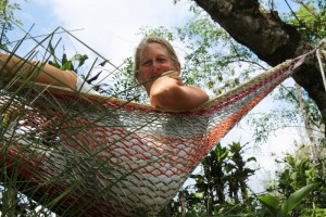 Jennifer in the hammock she hung up